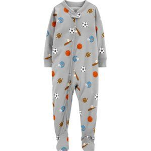 Carter's Sports Baseball Polyester Footies One Piece Pajamas PJs Size 18 Months